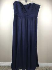 Lauren Ralph Lauren Navy Blue Chiffon Strapless Evening Gown Dress 20W $260