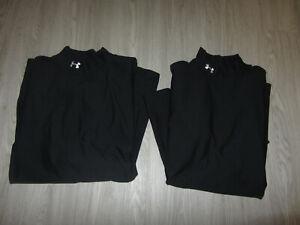 2 Lot Under Armour 2XL Cold Gear Base Layer Shirt UA Loose Compression XXL Black