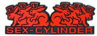 Rotes SEX CYLINDER Auto Relief 3D Schild Emblem selbstklebend HR Art. 49995