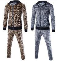 2PCS Men Leopard Zip Loose Fashion Sexy Coats Parka Pants Gold Casual Hot Sales