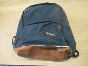 Vintage Eastpak Backpack Blue and Black With Brown Leather Bottom USA made