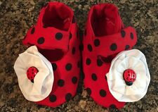 Baby Girl Ladybug Booties With Flower, Straps, Red And Black Free Shipping