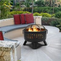 25in Iron Firepit Lattice Pattern Round Fire Bowl with Spark Screen & Fire poker