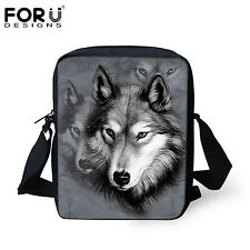 Wolf Handbag Women Messenger Bag Men School Sling Cross Body Shoulder Small Boys