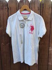 US POLO ASSN Polo Top Shirt White/Pink Sz XL Cotton-Spandex NWT Classic Fit