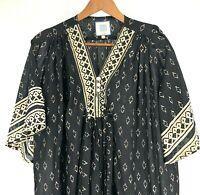 Alicia Bell Women Tunic Peasant Dress Top Long Boho Hippie Black Extra Small XS