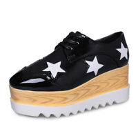 Women's High Platform Creepers Wedge Sneakers Lace Casual Shoes Leather