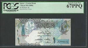 Qatar One Riyal ND(2008) P28 Uncirculated Graded 67