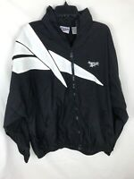 Vintage 90s Reebok Huge Logo Black White Nylon Windbreaker Size Large Hooded