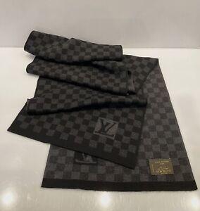 Louis Vuitton Damier Black Neck Wool Scarf LV logo