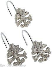 Fleur dis Lis Ceramic Resin Shower Curtain Hooks Silver Carnation Home Fashions