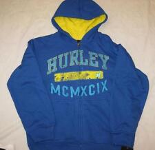 HURLEY boys Med 12 14 royal blue logo zip front sweatshirt hoodie NEW $52