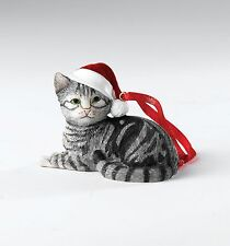 Country Artists Silver Tabby Cat Hanging Ornament Figurine NEW 18575