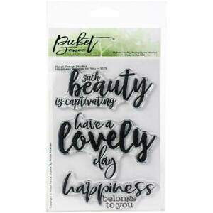 """Picket Fence Studios 4""""X6"""" Stamp Set Happiness Belongs To You (New) S125"""