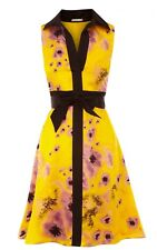 Karen Millen Yellow Black Purple Flower Print Silk Dress with belt size 14