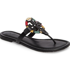 Tory Burch NEW Miller Black Leather Embroidered Colorful Flat Sandals Sizes 6 8