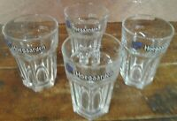 4 Pc Set Beer Glasses Hoegaarden 25 CL Belgian Breweriana Crystal Clear Tumblers