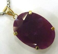 SYJEWELLERY HUGE 9CT SOLID YELLOW GOLD 12CT OVAL RUBY PENDANT   P822