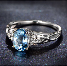 Top Solid 14k White Gold 1.47ct 100% Natural Aquamarine And Diamond Sparkly Ring