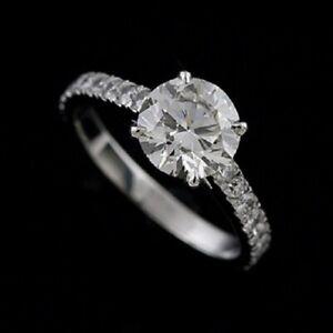 Diamond Modern Platinum 950 Forever One Moissanite Engagement Ring 2.2 mm