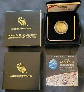 2019 W Apollo 11 50th Anniversary Commemorative $5 Gold Proof w/OGP and COA