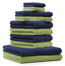 Betz lot de 10 serviettes Premium: bleu foncé & vert pomme, 100% coton