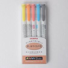 ZEBRA Mildliner Soft Color Double-Sided Highlighter Pen 5 SET WKT7-N-5C V_e