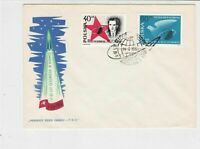 Poland 1961 Space Exploration Rocket Planet Slogan Cancel FDC Stamps Cover 25125