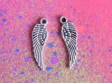 50 Angel Wings Bird Feather Wing Charm Silver Charms for Jewelry Making