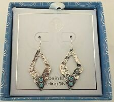 "Yam Made in Israel .925 Sterling Silver & Turquoise Earrings  ""NIB"""