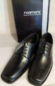 Men's Roamers Leather Dress Work Casual Wedding Smart Lace-up Black Shoe UK7-12