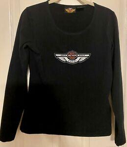 Harley Davidson Women's SMALL Black Shirt Top Long Sleeve Stretch