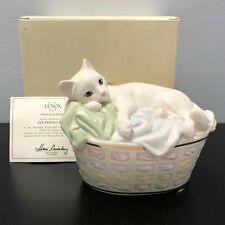 Lenox ZZZ Perfect Spot Kitty in Wicker Laundry Basket Cat Figurine MIB w COA