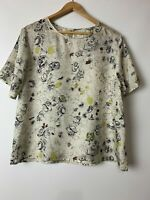 NATURE NEW ZEALAND amazing Printed Silk Short Sleeve Top Size XL