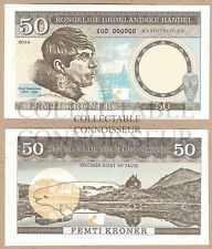 Groenlandia/Danimarca 50 CORONE 2014 UNC Specimen Test Note BANCONOTA Beluga