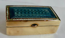 ANTIQUE BRASS / BRONZE & GUILLOCHE ENAMEL SNUFF BOX / PILL BOX - BEAUTIFUL