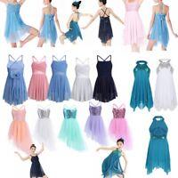Girls Kid Sequins Ballet Latin Dance Tulle Dress Ballerina Leotard Fairy Costume