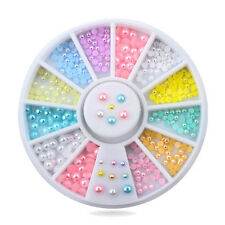 12 Colors Mix Sizes Pearl Nail Art Tips Decoration Wheel Glitter Nail Rhinestone