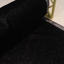 Black Velvet With Silver Edge & Silver Fleck Throughout - Per Metre