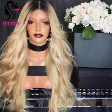T613 Lightest Blonde Ombre European Human Hair Lace Front Wigs Two Tone Lace Wig