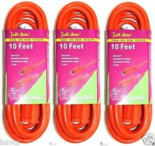 Extension Cord 10 Feet Indoor Outdoor Ul listed Orange Power Cord 16 Gauge 3 Set
