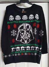 New Mens Black Disney Star Wars Holiday Long Sleeve Knit Sweater Shirt Size 2X