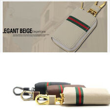 PU Leather Beige Key Case Holder Housekeeper Zipper Key Wallets Bag Organizers