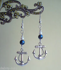 Smart Nautical Blue and White Pearl Beads with Anchor Charm Dangly Earrings