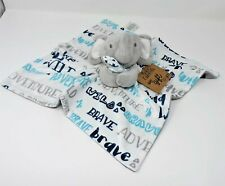 New listing Baby Essentials Elephant Security Blanket Snuggle Toy Gray White Blue Wild Brave