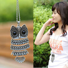 Fashion Womens Vintage Owl Pendant Long Chain Necklace Jewelry Gift for XMAS