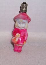 Vintage Glass Figural Little Girl In Pink Christmas Bulb Ornament