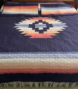 Set of 3 PENDLETON Southwestern Pieced Quilted Cotton 2 KING Pillow Shams NAVY