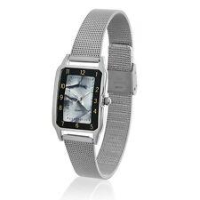 Edle Damenuhr Tavolino, Silber Grau Meshband Milanaise Top Uhr aus Insolvenz