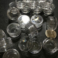 50 Empty Cosmetic Jars Small Sample 3 Gram Ml Beauty Lip Balm Containers Clear